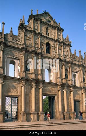 China, Macau, Ruinen von St. Paul Kirche - Stockfoto