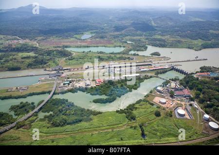 Panama, Panama-Kanal, Miraflores-Schleusen - Stockfoto