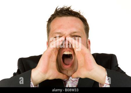 40 Jahre alte Geschäftsmann schreien - Stockfoto