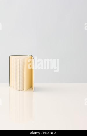 Offenes Buch mit gefütterten Seiten, stehend - Stockfoto