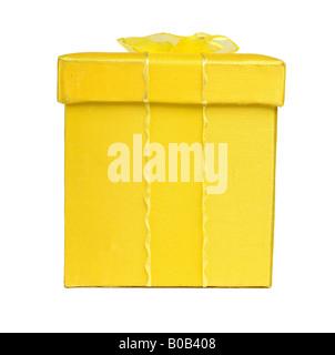 Gelbe Geschenk Geschenkbox mit Schleife - Stockfoto