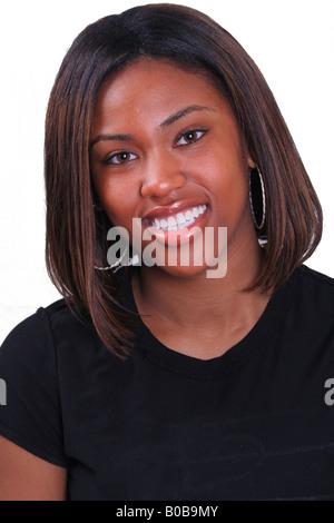 Hübsche junge Studentin lächelnd - Stockfoto