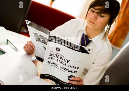 Schulmädchen, die Überarbeitung für Gcse-Prüfungen in der Wissenschaft - Stockfoto