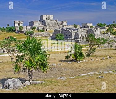 Tulum, eine Maya-Küste Festung und Hafen auf der Halbinsel Yucatan - Stockfoto