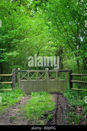 5 Langlauf hölzerne Tor am Eingang zum privaten Spur führt zu abgelegen Eigenschaft - Stockfoto