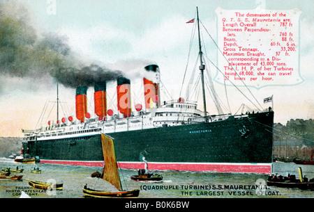 "Ozeandampfer RMS ""Mauretania"", 20. Jahrhundert. Künstler: unbekannt - Stockfoto"