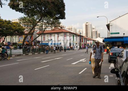 Lebendige Straßenszene entlang Kitchener Road in Little India, Indian Viertel, Singapur, Südostasien - Stockfoto