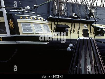 Detail-Aufnahme von Vollausschlag Nachbildung der MAYFLOWER in BALTIMORE HARBOR, USA, Maryland, Baltimore - Stockfoto