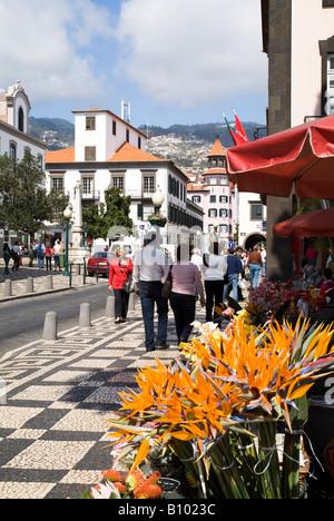 dh Rue Aljube FUNCHAL MADEIRA Menschen wandern in Funchal Stadt Straße Paradiesvogel Blumen flowerseller - Stockfoto