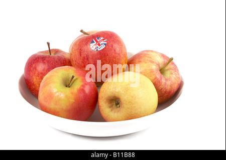Äpfel in eine Schüssel weiß - Stockfoto