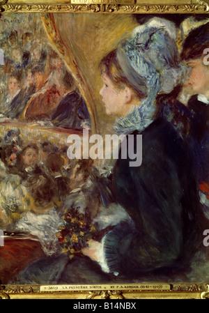 "Bildende Kunst, Renoir, Auguste (1841-1919), ""La Premiere Sortie"" (im Theater), Malerei, Öl auf Leinwand, 1876, - Stockfoto"