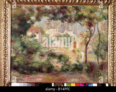 Fine Arts - Renoir, Auguste (1841-1919), Malerei, 'Landschaft mit Sacre Coeur', ca. 1826, Öl auf Leinwand, Neue - Stockfoto
