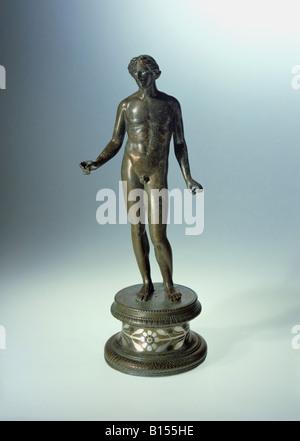 Bildende Kunst, Antike, römische Reich, Skulptur, Apollo, bronze, frühen dritten Jahrhundert AD, Weißenburg Schatz, - Stockfoto