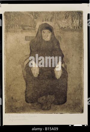 Bildende Kunst, Modersohn-Becker, Paula (1876 - 1906), Grafik, sitzen alte Frau, etchin, Aquatinta, 1899, Kunsthalle - Stockfoto