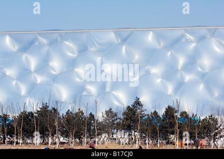 Der Water Cube National Aquatics Center Schwimmhalle im Olympischen Park Peking China - Stockfoto