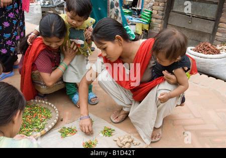 Marktstand in Kathmandu, Napal - Stockfoto