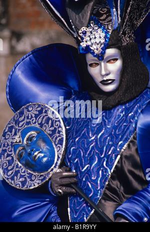 Bunten blauen Karnevalskostüm Venedig - Stockfoto
