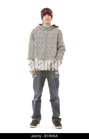 13-Year-Old Boy in einem coolen outfit - Stockfoto