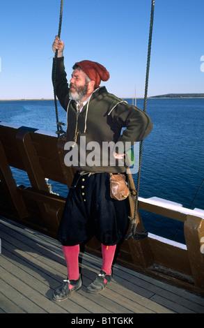Reenactor an Bord der Mayflower II, Plymouth, Massachusetts - Stockfoto