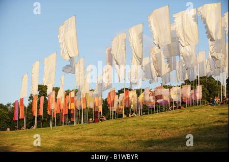 Glastonbury Festival Fahnen auf der Lounge-Bereich - Stockfoto