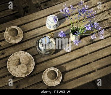 LIFESTYLE: Couchtisch mit Blumen - Stockfoto