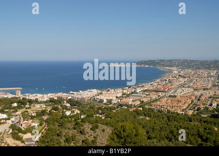 Blick von La Plana über die Bucht von Javea Arenal Bereich und Prim Cap, Javea / Xabia, Provinz Alicante, Comunidad - Stockfoto