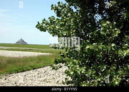 Mont Saint-Michel betrachtet aus der Ferne in der französischen Landschaft, Normandie, Frankreich - Stockfoto