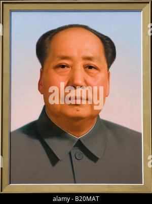 Vorsitzender Mao s Porträts am Tor des himmlischen Frieden Eingang der verbotenen Stadt Peking-China - Stockfoto