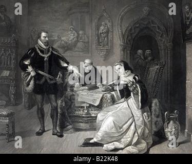Die Unterzeichnung des den Exekutionsbefehl von Lady Jane Grey - Stockfoto