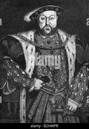 Heinrich VIII., 28.6.1491 - 28.1.1547, König von England seit 1509, halbe Länge, Kupferstich, nach dem Gemälde von Hans Holbein der Jüngere (1497-1543), der Künstler das Urheberrecht nicht geklärt zu werden. Stockfoto