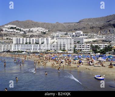 Geographie/Reisen, Spanien, Kanarische Inseln, Gran Canaria, Puerto Rico, Strand, Tourismus, Urlaub, Urlaub, Ferien, - Stockfoto