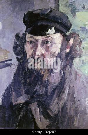 """Bildende Kunst, Cezanne, Paul (1839 - 1906), Malerei """"Self Portrait mit einem casquette', 1873-1875, Öl auf Leinwand, der Eremitage St. Petersburg, Russland, Artist's Urheberrecht nicht gelöscht werden"""