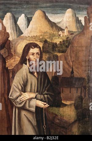 Nikolaus von Flue, 1417 - 21.3.1487, Schweizer Einsiedler, Askese, Mystiker, Heiliger, mit Rosary vor der Landschaft - Stockfoto