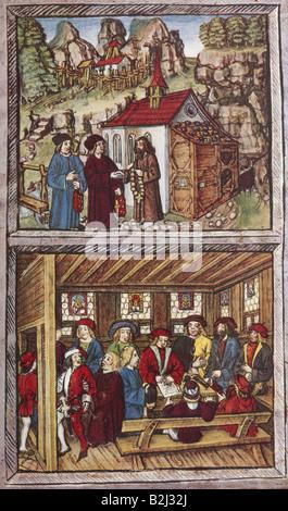 Nikolaus von Flue, 1417 - 21.3.1487, Schweizer Einsiedler, Askese, Mystiker, Heiliger, Stan-Vorfall, 22.12.1481, - Stockfoto