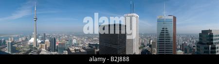 Die Skyline von Toronto Kanada gesehen vom oberen Rand der TD Bank-Turm in der Mitte des Finanzviertel der Stadt - Stockfoto