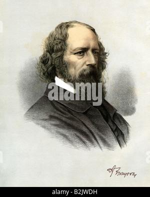 Tennyson, Herrn Alfred, 6.8.1809 - 06.10.1892, englischer Autor/Autorin, Porträt, Lithographie, farbig, England, - Stockfoto