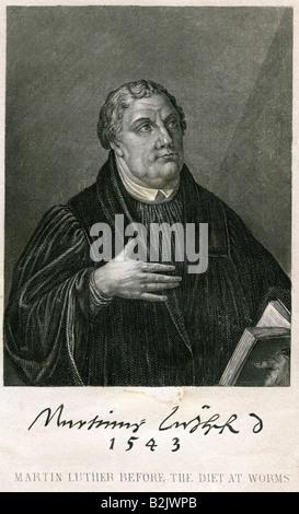 Luther, Martin, 10.11.1483 - 18.2.1546, deutscher Reformator, Stahlstich, New York, USA, 19. Jahrhundert, Artist's - Stockfoto