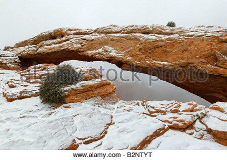 Mesa Arch, ein 90 Fuß natürlicher Bogen befindet sich in Canyonlands National Park, Utah, ist durch frischen Schnee - Stockfoto