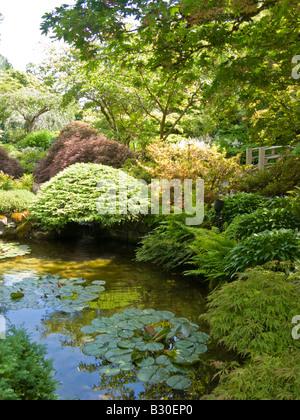 Der japanische Garten im Butchart Gardens, Brentwood Bay, Vancouver Island, British Columbia, Kanada - Stockfoto
