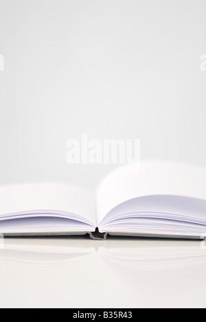 Offenes Buch mit leeren Seiten, Nahaufnahme - Stockfoto
