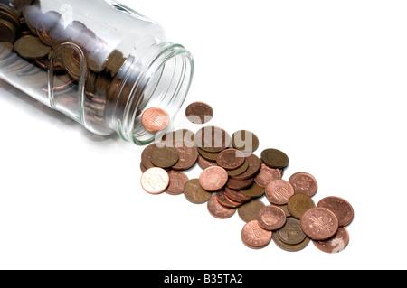 Glas, verschütten Kupfermünzen - Stockfoto