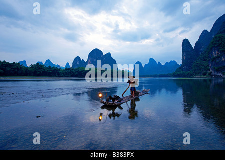 Kormoran Fischer in Lijang Li Fluss Xingping Guilin Provinz China Model release 701 Stockfoto
