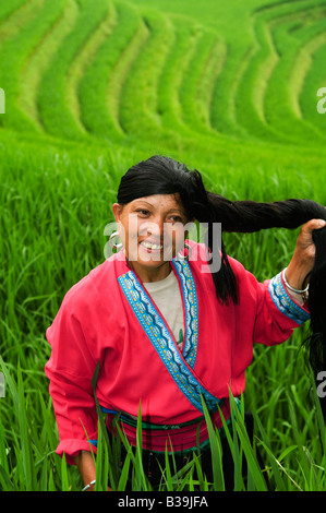 Einen schönen roten Yao zeigt ihr langes Haar in die Longji Reisterrassen, Guangxi, China - Stockfoto