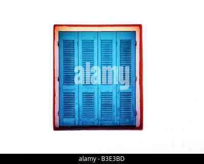 Blauen Fensterläden aus Holz - Stockfoto