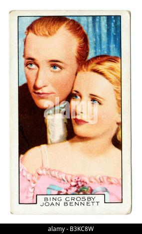 Gallaher die Zigarette Ausgabekarten in 1935 zur Veranschaulichung Film Partner Bing Crosby & Joan Bennett - Stockfoto