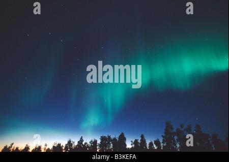 Nordlicht oder Aurora Borealis Gewirr See Alaska USA - Stockfoto