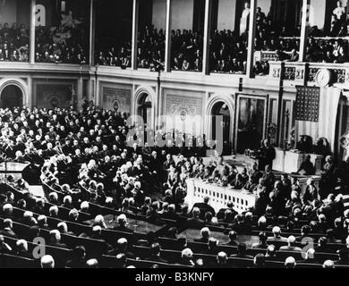 "Präsident ROOSEVELT hält seinen ""Tag der Schande"" Rede an den Kongress 8. Dezember 1941 nach dem japanischen Angriff - Stockfoto"