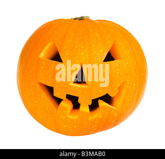 Halloween-Kürbis isoliert auf weißem Hintergrund - Stockfoto
