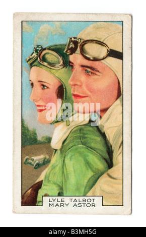 Gallaher die Zigarette Ausgabekarten in 1935 zur Veranschaulichung Film Partner Lyle Talbot & Mary Astor - Stockfoto