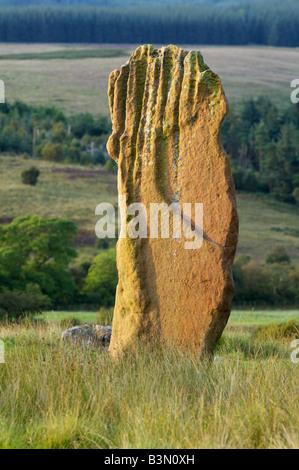 Eine verbleibenden Stein der Bronzezeit Steinkreis auf Machrie Moor, Isle of Arran, North Ayrshire, Schottland, - Stockfoto